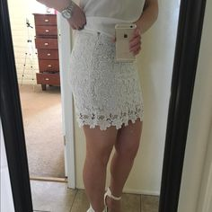 White Lace Forever 21 Skirt Forever 21 white lace skirt zips up from the size and clasps. You have to be a little patient with the zipper (still works though) but other than that it's in great condition! Forever 21 Skirts Pencil