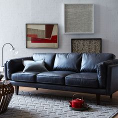 Perfect Peterson Leather Sofa   Black