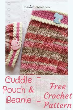 Free baby crochet pattern for baby cuddle pouch-beanie on crochetncreate. Crochet Sweaters, Baby Sweaters, All Free Crochet, Double Crochet, Crochet Beanie Pattern, Crochet Patterns, Baby Patterns, Stitch Patterns, Crochet Baby Clothes