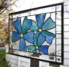 """Blue-Green Flax Flowers-13.5"""" x 19.5' --Stained Glass Window Panel"""
