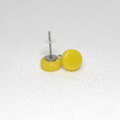 Yellow Round Glass Surgical Steel Stud Earrings