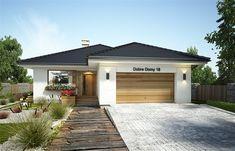 Projekt domu parterowego Bianka II o pow. 108,9 m2 z obszernym garażem, z dachem kopertowym, z tarasem, sprawdź! Architectural Design House Plans, Architecture Design, Dream House Plans, Design Case, My House, Shed, Exterior, Outdoor Structures, House Design