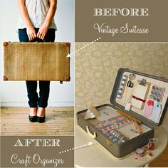 Diy vintage suitcase/ or unused and always stored suitcase. Great for storing crafts!