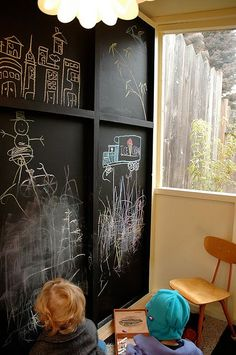 interior wall of playhouse, chalkboard