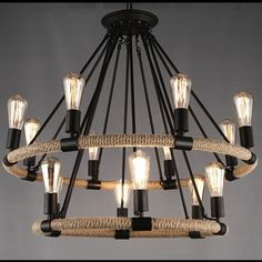 445.55$  Watch now - http://aliqqh.worldwells.pw/go.php?t=32655677048 - American Country Hemp Rope Pendant Lights Fixture Industrial Droplight Home Dining Room Restaurant Hanging Lamps 110 220V D83cm