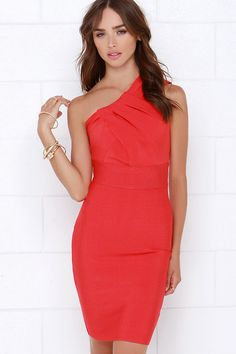 Exchanging Glances Coral Red One Shoulder Dress at Lulus.com!