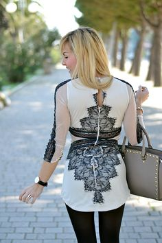 Lace Sheinside dress, Armani black coat, Michael Kors Selma bag - #outfit spring 2014 italian #fashionblogger It-Girl by Eleonora Petrella #outfitoftheday #fashion #inspiration #look #lookoftheday #girl #blonde #fashionblog