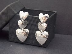 Stunning 925 Sterling Silver drop heart earrings