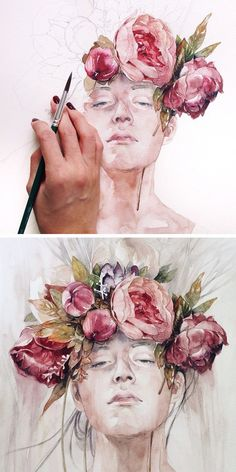 Pastel and watercolors.