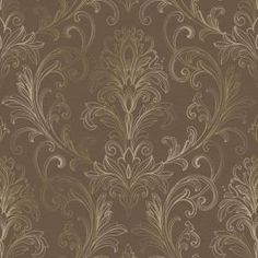 for the hutch - Linear Damask Wallpaper Turquoise/Pearl Double Rol Damask Wallpaper, Print Wallpaper, Wallpaper Patterns, Wallpaper Samples, Brown And Gold Wallpaper, Transitional Wallpaper, Damask Decor, Classic Wallpaper, White Damask