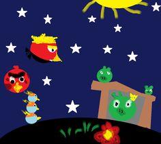 To jest mój rysunek: Angry birdsy ze wszystkich gier są na czarnej planecie i muszą zaatakować świnie
