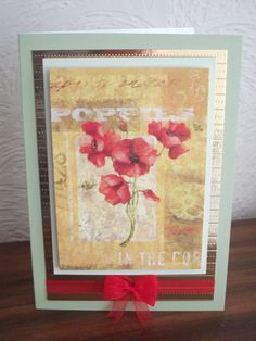 Poppies card using the little book of flowers from Hunkydory.