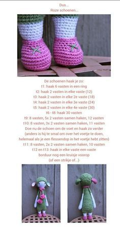 Schoenen voor Lalylala knopje, gevonden op http://ak-at-home.blogspot.nl/search/label/Crochet?m=0: