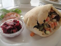 Newport Deli's delicious falafel served with a side of pickled beetroot.