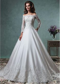 Gorgeous Tulle & Satin Off-the-Shoulder Neckline A-line Wedding Dresses with Beaded Sequins Lace Appliques