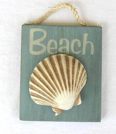 Make small wood plaques and glue one shell on each and hang on rope. Seen at Florida Gifts (ebay store).