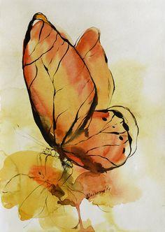 Yello  orange butterfly original watercolor by AlisaAdamsoneArt