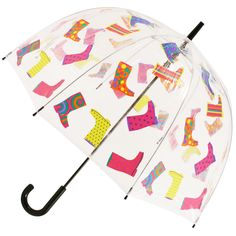 Wellies Clear PVC Dome Walking Length Umbrella - Brolliesgalore