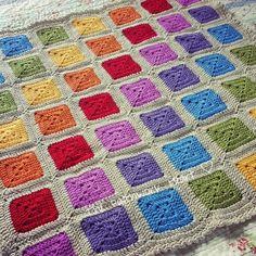 The Patchwork Heart: Rainbow Squares - in Stylecraft lipstick,spice,saffron,meadow,aster,violet,magenta