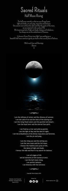 Moon: Sacred Rituals ~ #Half #Moon Rising.
