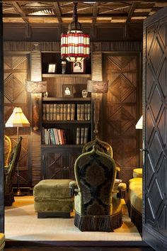 Detail of the Library room at restaurant Le Marocain of Hotel La Mamounia in Marrakech
