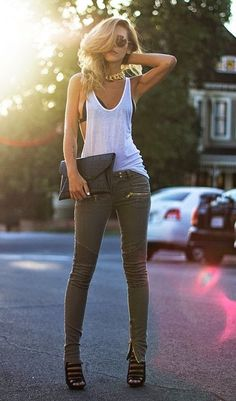 Love the jeans, perfect for fall. Just change the top for maybe a ribbed grey shirt and add a jacket/coat,etc. Anything and it'd be perfect for Autumn!!