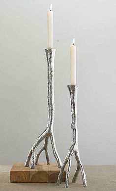 Living Room - Viva Terra Silver Bark Candlesticks - inspired by nature AND shiny! Birch Branches, Birch Bark, Candlestick Holders, Candlesticks, Living Room Decor Inspiration, Oil Candles, Nature Crafts, Diy Arts And Crafts, Diy Projects To Try