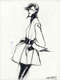 Co-curated by fashion historian Colin McDowell, the exhibition brings together illustrations of clothing by Poiret, Lanvin, Chanel, Alexander McQueen and Karl Lagerfeld (pictured).