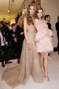 Elie Saab Backstage '15. Love the short pink one!....x