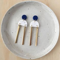 Duo Stick Dangle Earrings // Metallic Blue White Granite &