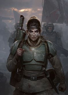 Cadian Honour- Cover Art by Darren Tan on -=Andro Women In Armor=- See More Armored Women Ready For Battle Warhammer Imperial Guard, 40k Imperial Guard, Warhammer 40000, Warhammer 40k Memes, Character Portraits, Character Art, Imperial Guardsman, Guardia Imperial 40k, Chasseur De Primes