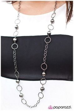 Mirage of Mystery: Metallic gunmetal beads are joined by textured gunmetal rings along a gunmetal chain. Buy now from www.paparazziaccessories.com!