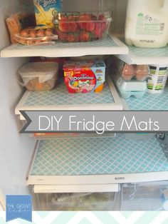 Super easy and cheap fridge mats!  Transform your fridge in minutes.  Get a jump on spring cleaning with this easy project