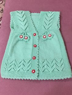 Perfect Vest Patterns For Baby Girl – Knitting And We Baby Cardigan Knitting Pattern, Cardigan Pattern, Baby Knitting Patterns, Knitting Designs, Baby Patterns, Knitted Baby Boots, Knit Baby Sweaters, Knitted Hats, Crochet For Kids