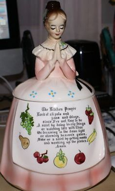 Vintage Mother in the Kitchen Pink Prayer Lady---