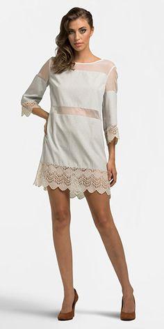 Vestido shift - Renda Floripa e Cotton Pattern Play Stripe des 3 #micropadronagens #tecidosdelicados #rendas #fiotinto #camisaria #vestido #shiftdress #summer #novasexpressoes #lookbook #focustextil