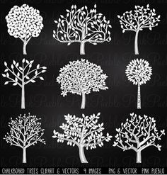 Our Chalkboard Tree Silhouettes Clipart includes 9 PNG files with transparent backgrounds and 1 Adobe Illustrator vector file. The PNGs 300dpi and