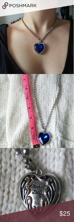"""The Heart of the Ocean Necklace This is a Titanic heart of the ocean inspired necklace that I bought a few years ago, but I have only worn it twice. There is a cute engravement on the back that says """"Eternal Love"""" and I wore this on a date with my boyfriend of a year so I now have reason to believe thay this necklace is lucky. I hope it will bring love to someone else. Jewelry Necklaces"""