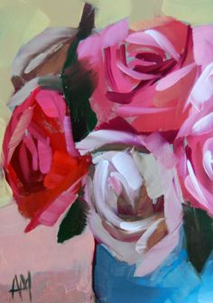 Roses in Blue Vase no. 3    5 x 7 inches (12.7 x 17.78 cm)    oil paint on archival gessobord panel. signed. unframed.    copyright 2013 Angela