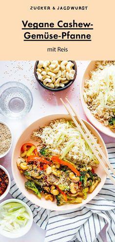 Schnelle Cashew-Gemüse-Pfanne mit Reis #asiatisch #gemüse #pfanne