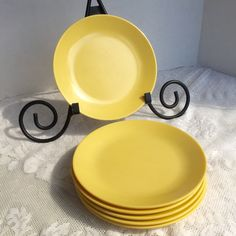 Vintage Melamine Dessert Plates / Yellow Melmac Plates by vintagepoetic on Etsy