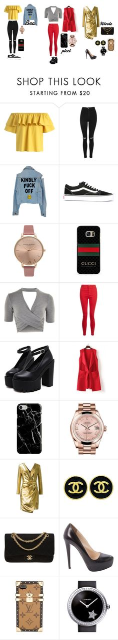 """""""outfit my friends"""" by aurora-piccirillo ❤ liked on Polyvore featuring Chicwish, Topshop, Vans, Olivia Burton, WithChic, Recover, Rolex, Yves Saint Laurent, Chanel and Prada"""