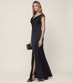 c6b88311831 Vittoria Lace-Back Evening Gown - REISS Navy Lace