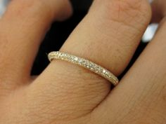 0.60cts 3 Row Micro Pave Diamond Eternity Band in 18k Yellow Gold ...