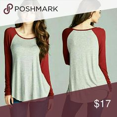 🎄☃🎁BEAUTY BURGUNDY SALE RAGLAN BASEBALL TEE⛄🎄🎁 Burgundy,gray long sleeve shirts S/M/L   available 95% RAYON 5%Spandex MADE IN VIETNAMN  PRICE IS FIRM ON SALE BOTIQUE ITEMS ACTIVE USA Tops Tees - Long Sleeve