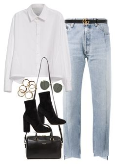 """""""Untitled #1728"""" by breannaflorence on Polyvore featuring Vetements, Y's by Yohji Yamamoto, Gucci, Yves Saint Laurent, Valentino and Ray-Ban"""