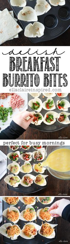 Easy Breakfast Burrito Bites // The toppings in these bites can be switched around for variety, and can easily be frozen and reheated.