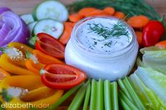 Love ranch dressing? Make this healthy version instead! www.elizabethrider.com #healthcoach #dairyfree #eatclean