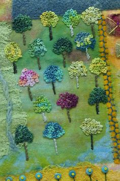 broderiemyworld: Tiny french knot trees by Nancy Claiborne at Studio 508