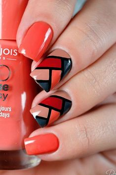 40 Geometric Nail Art Designs You Will Fall In Love With - Page 13 of 40 - Beautiful Wiki Plaid Nail Art, Plaid Nails, Red Nails, Love Nails, Coral Nails, Bright Nails, Matte Nails, Acrylic Nails, Spring Nail Art